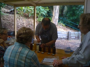 Brother Howard judging the preserves section, Brookfield Show
